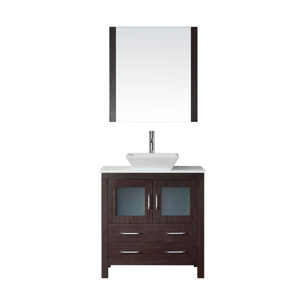 Virtu USA Dior 33 in. W Bath Vanity in Espresso with Stone Vanity Top in White with Square Basin and Mirror and Faucet
