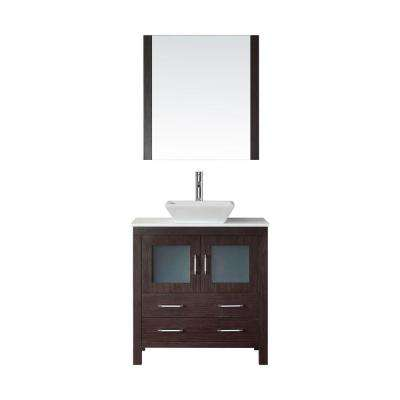 Dior 33 in. W Bath Vanity in Espresso with Stone Vanity Top in White with Square Basin and Mirror and Faucet