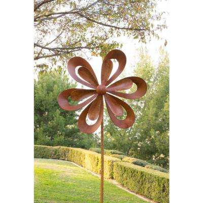 96 in. Tall Rustic Metal 3D Garden Stake Windmill Spinner