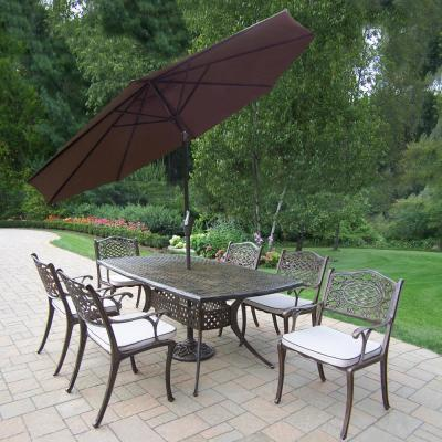 9-Piece Aluminum Outdoor Dining Set with Table, 6 Cushioned Chairs, 9 ft. Metal D Umbrella, and Metal Stand