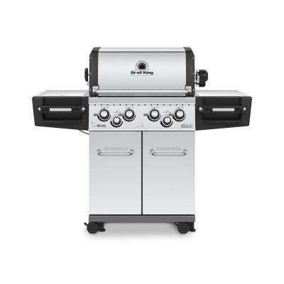 Regal S490 PRO IR 4-Burner Natural Gas Grill in Stainless Steel with Infrared Side Burner and Rear Rotisserie Burner