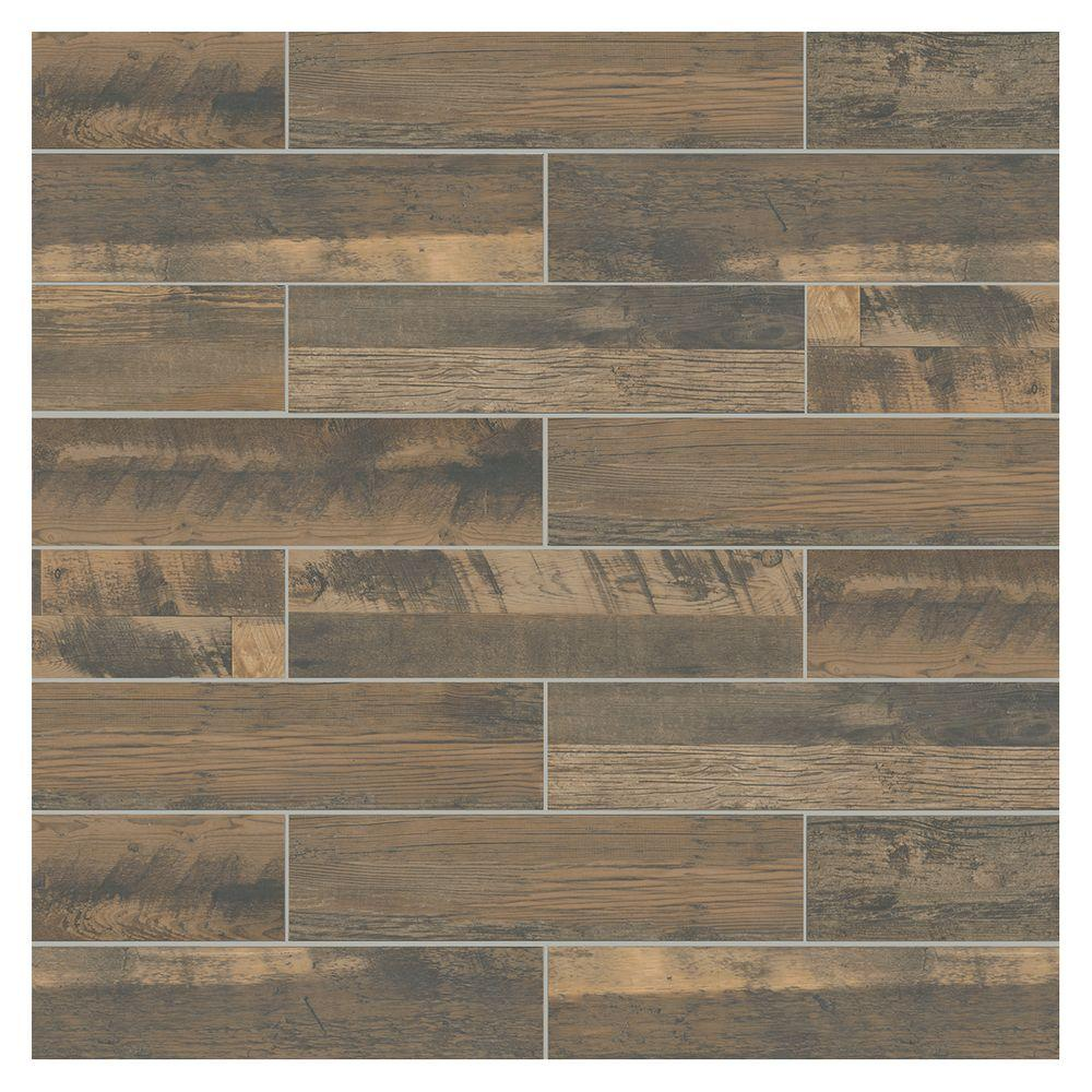 Marazzi Montagna Wood Weathered Brown 6 In X 24 Porcelain Floor And Wall