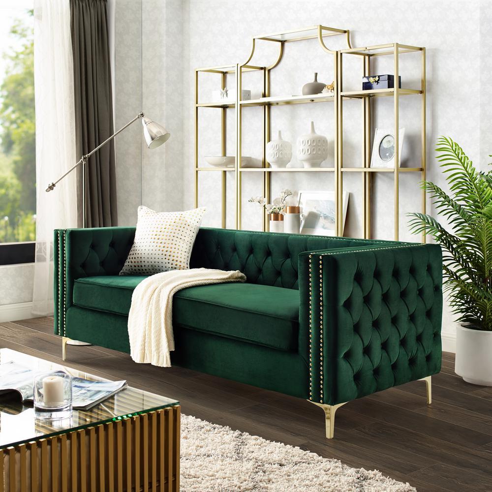 Inspired Home Olivia Hunter Green Velvet Sofa with Silver ...