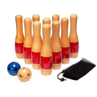 11 in. Wooden Lawn Bowling Set