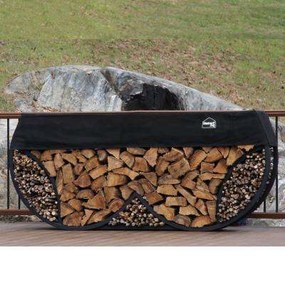 ShelterIT 8 ft. Firewood Log Rack with Kindling Wood Holder and Waterproof Cover - Double Round