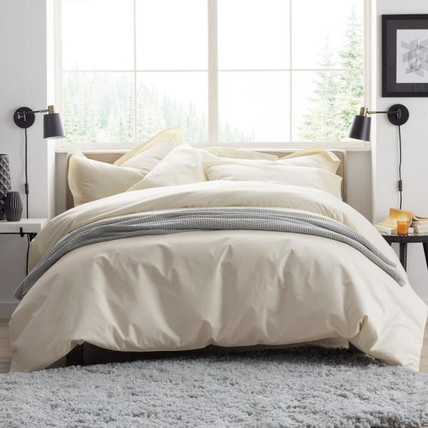 The Company Store Ivory Supima Percale Queen Duvet Cover DQ39-Q-IVORY