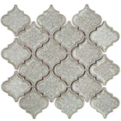 Roman Selection Iced White Lantern Glass Mosaic Tile - 3 in. x 6 in. Tile Sample