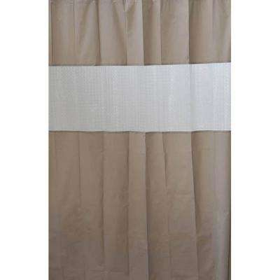 Laser 71 in. x 79 in. Peva Taupe Solid Colors Bath Shower Curtain