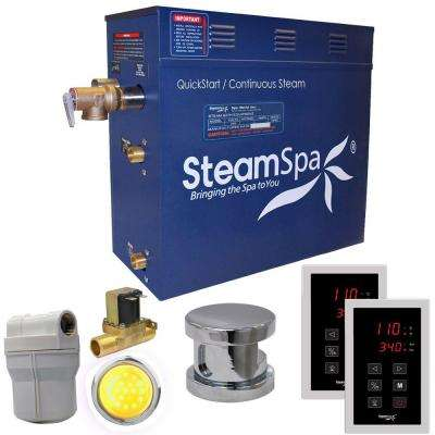 Royal 9kW QuickStart Steam Bath Generator Package with Built-In Auto Drain in Polished Chrome