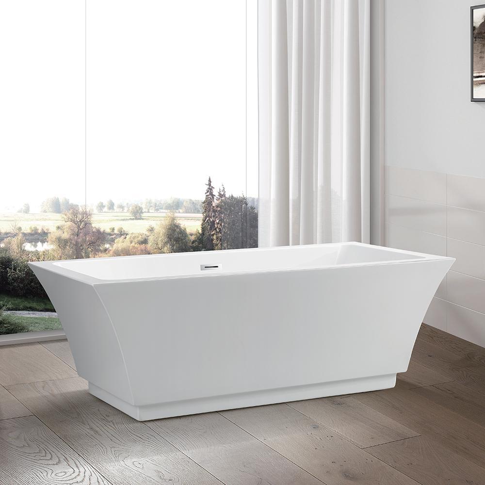 Strasbourg 67 in. Acrylic Flatbottom Freestanding Bathtub in White
