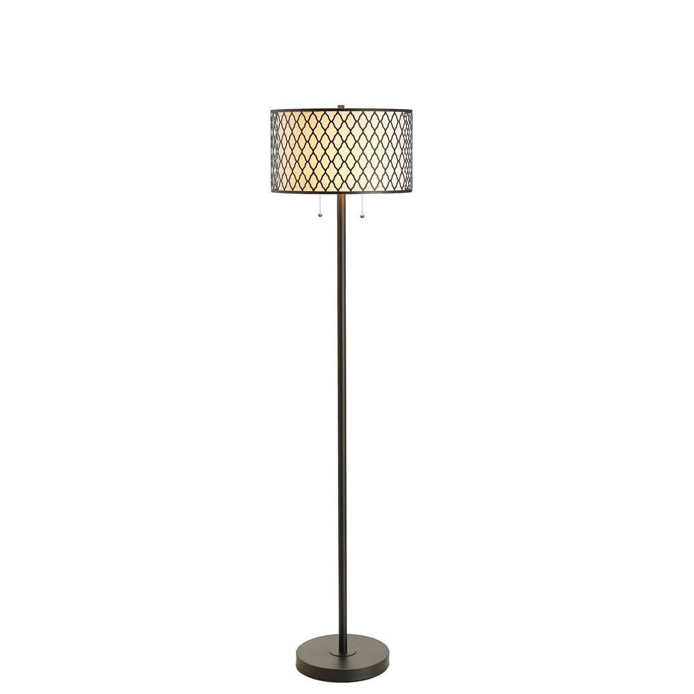 65 in. Bronze Laser Cut Dual Shade Floor Lamp
