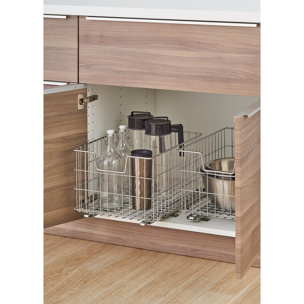 trinity ecostorage 13 in w x 17 75 in d x 11 in h steel wire in rh homedepot com pull out wire baskets for kitchen cabinets pull out wire basket for kitchen cupboard