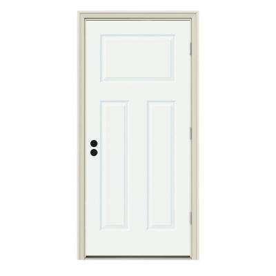 30 in. x 80 in. 3-Panel Craftsman White Painted Steel Prehung Left-Hand Outswing Front Door w/Brickmould