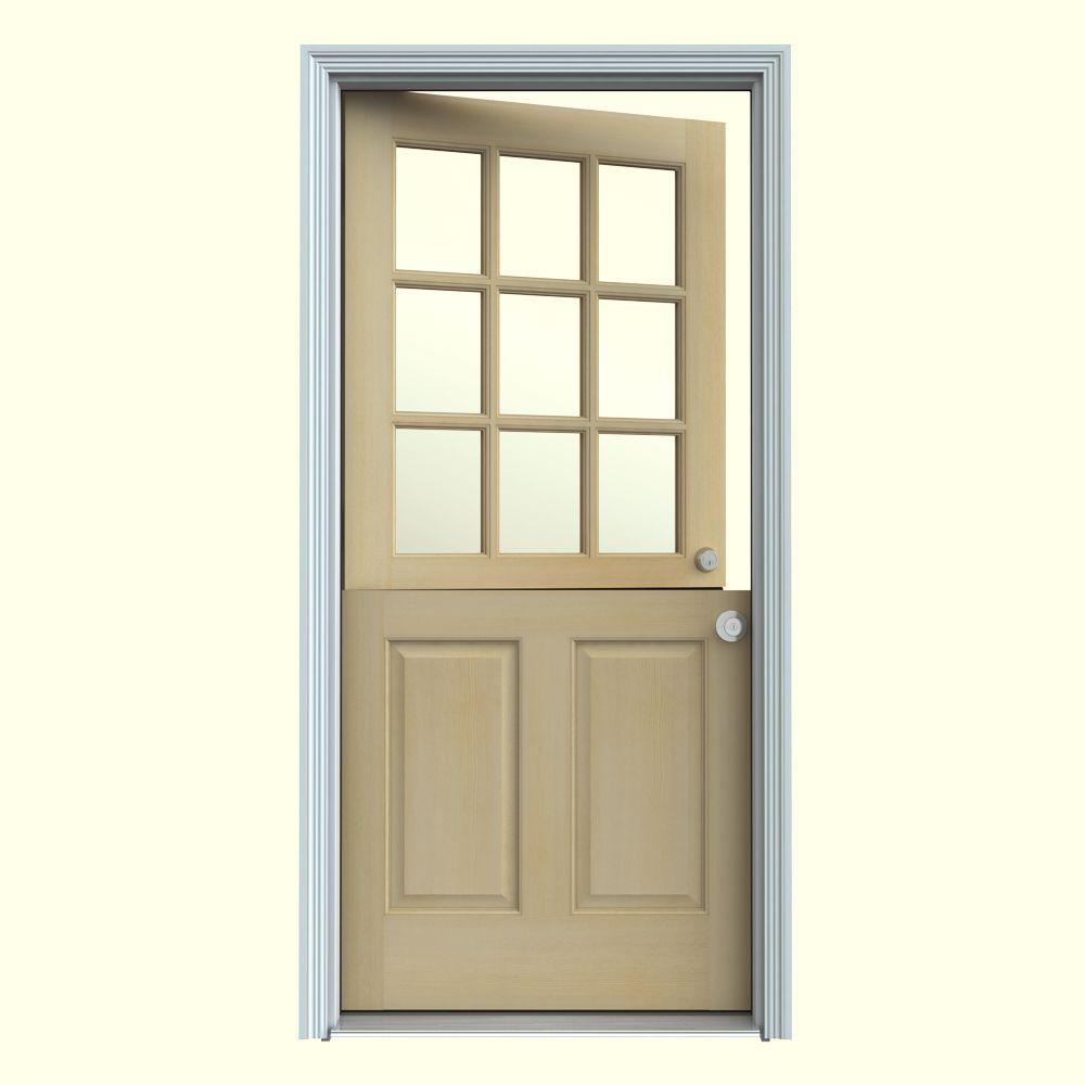 Jeld wen 32 in x 80 in 9 lite unfinished dutch hemlock for Back entry doors