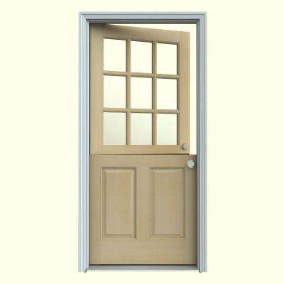 32 in. x 80 in. 9 Lite Unfinished Dutch Hemlock Wood Prehung Front Door with Brickmould