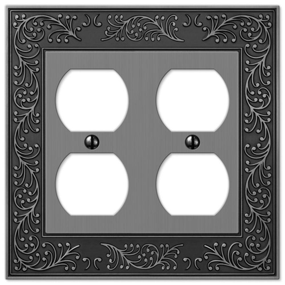 English Garden 2 Duplex Wall Plate - Antique Nickel