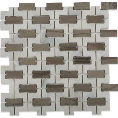 Rorschack Athens Gray and Oriental Polished Marble Floor and Wall Tile - 3 in. x 6 in. Tile Sample