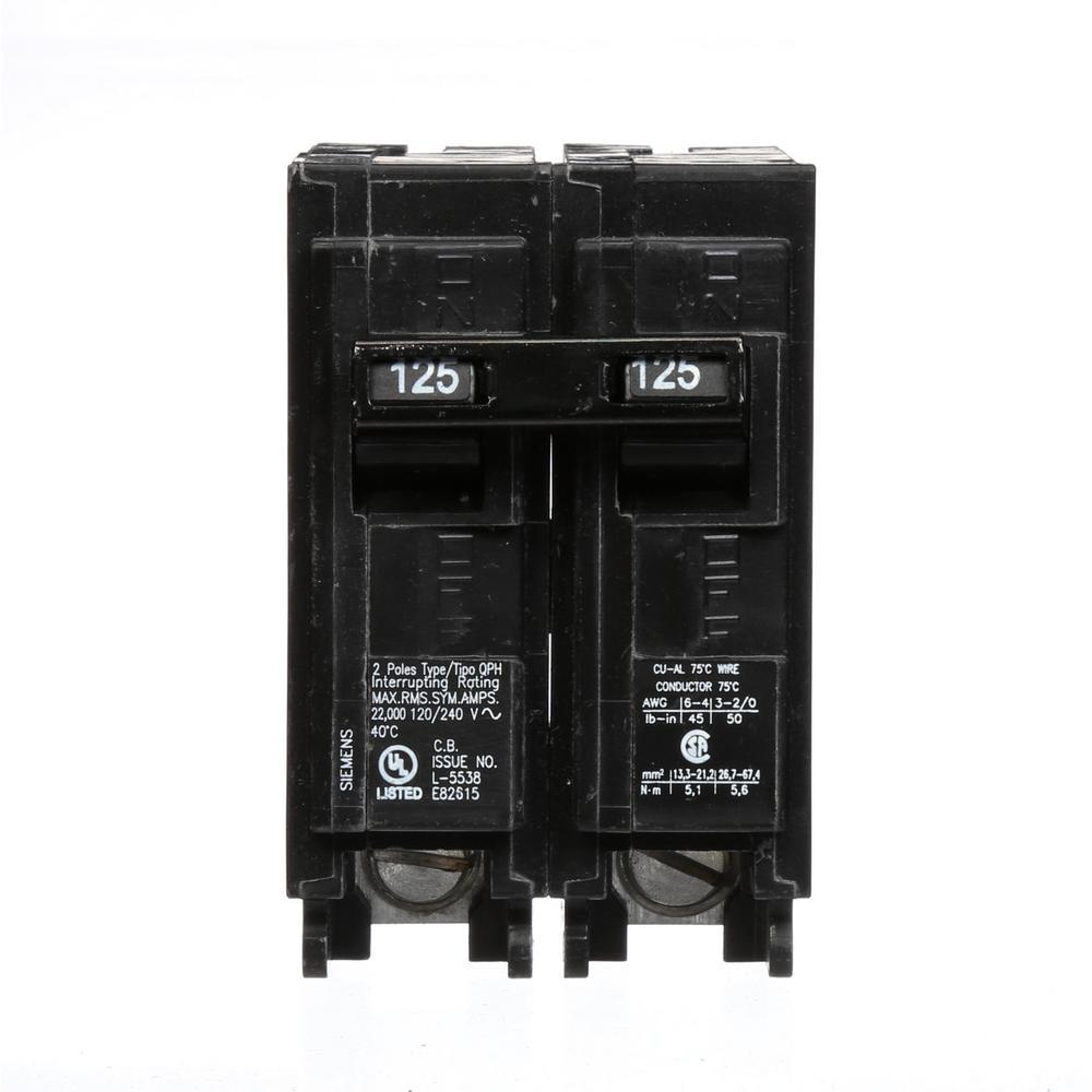Siemens 125 Amp 2-Pole QPH 22 kA Circuit Breaker