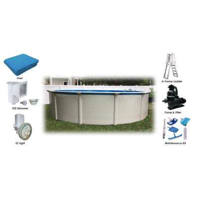 24 ft. Round 52 in. Steel Wall Above Ground Pool Essential Package