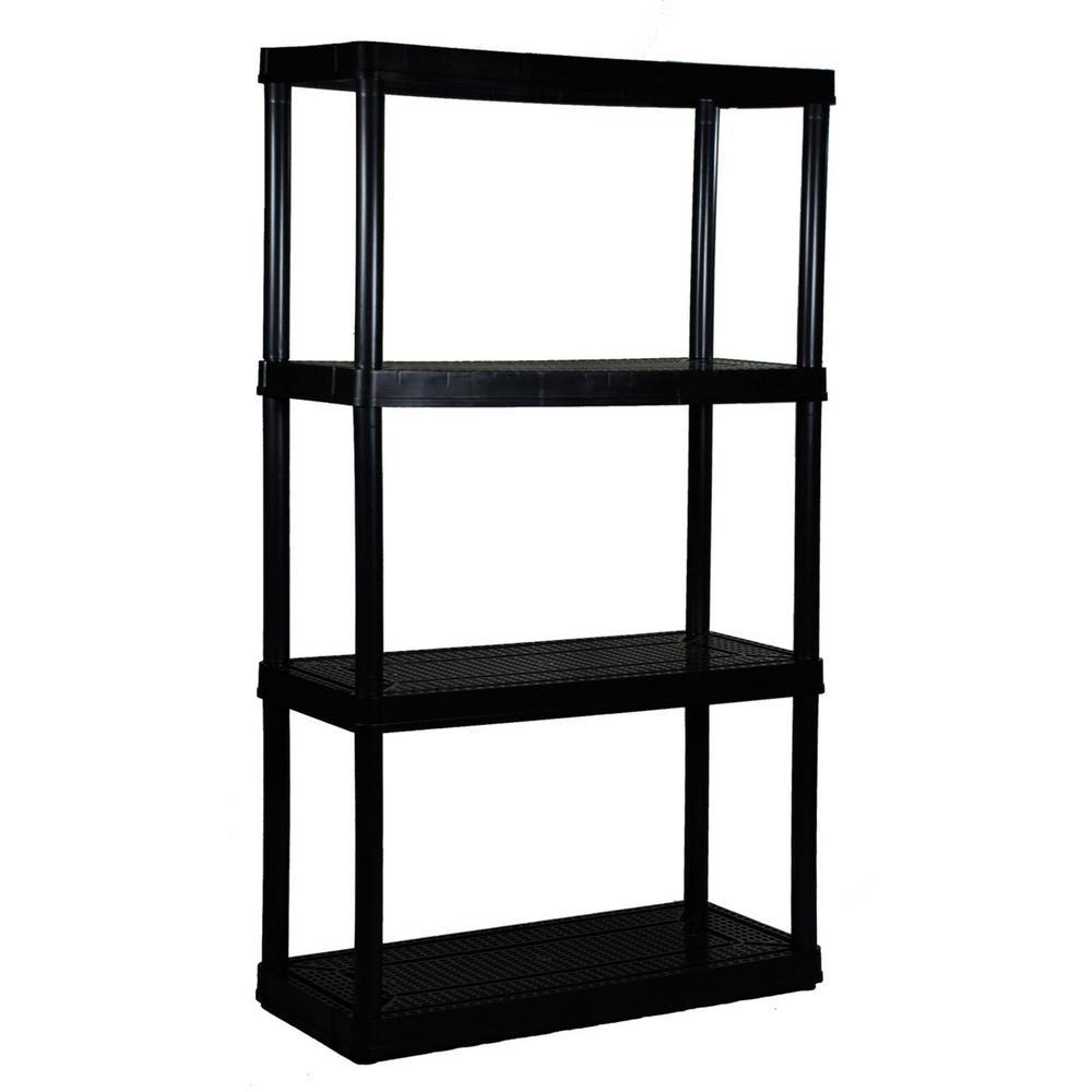 4 Shelf Tier Medium Resin Indoor and Garage Storage Shelf, Black