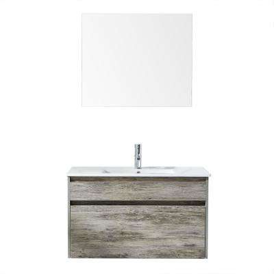 Trento 36 in. W x 18 in. D x 21 in. H Bath Vanity in White PVC with Vitreous China Vanity Top and Basin and Mirror
