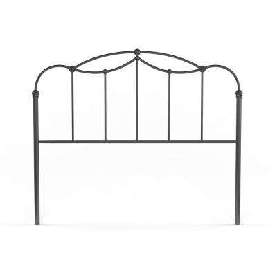 Affinity Queen-Size Metal Headboard Panel with Straight Spindles and Detailed Castings in Blackened Taupe