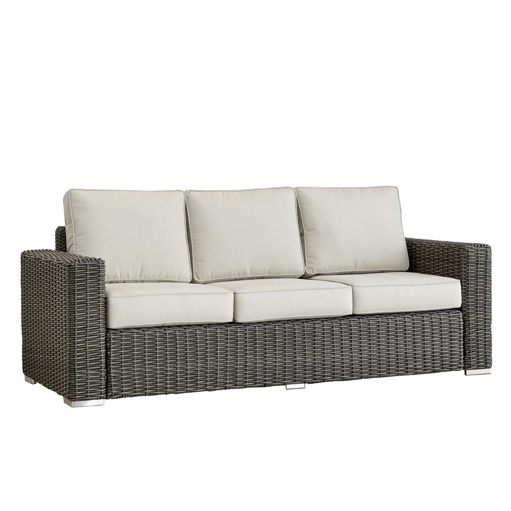 Camari Charcoal Square Arm Wicker Outdoor Sofa with Beige Cushion
