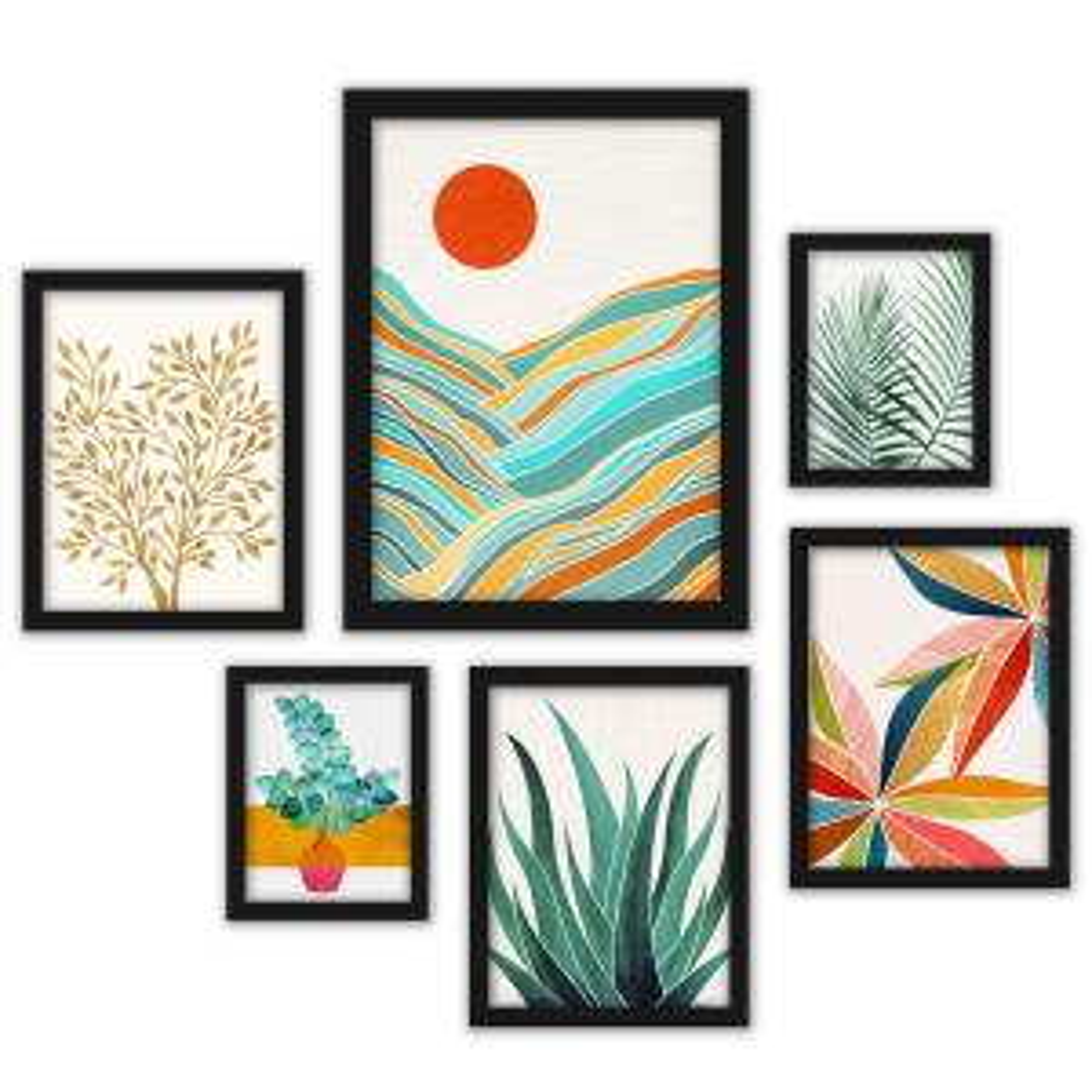 6 Piece Black Framed Gallery Wall Set 4 by Modern Tropical
