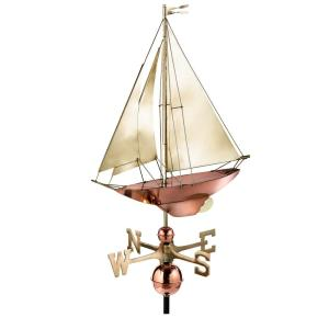 Good Directions Racing Sloop Weathervane - Pure Copper with Brass Sail by Good Directions