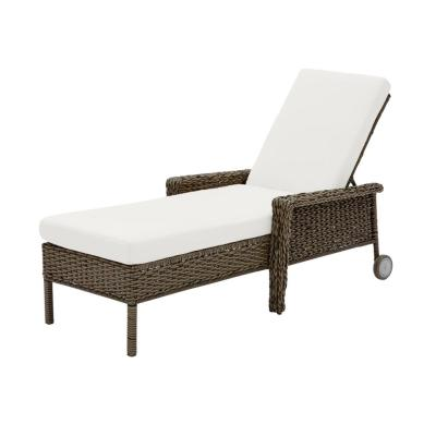 Laguna Point Brown Wicker Outdoor Patio Chaise Lounge with CushionGuard Chalk White Cushions
