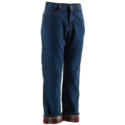 Men's 38 in. x 32 in. Stone Wash Dark Cotton Original Lined Dungaree Pants