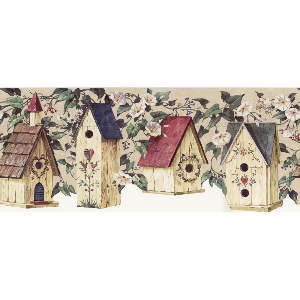 The Wallpaper Company 8.5 in. x 15 ft. Blue Die-Cut Bird House Border-DISCONTINUED