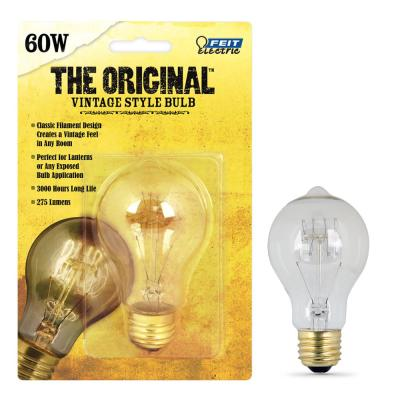60W Equivalent AT19 Dimmable Incandescent Amber Glass Vintage Edison Light Bulb With Tungsten Filament Soft White