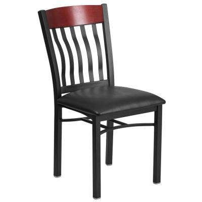 Eclipse Series Black Vertical Back Metal and Mahogany Wood Restaurant Chair with Black Vinyl Seat