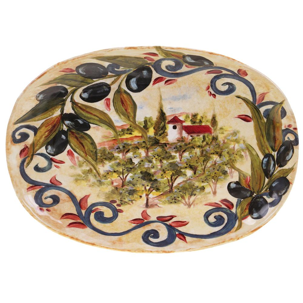 17.25 in. x 12.5 in. Umbria Multi-Colored Ceramic Oval Platter