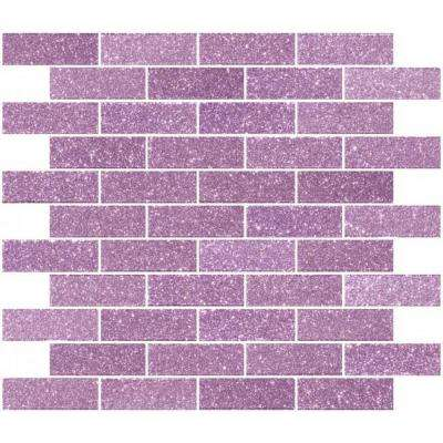 12 in. x 12 in. x 4 mm Tile Esque Barbie Pink Glitter Glass Subway Mesh-Mounted Mosaic Tile
