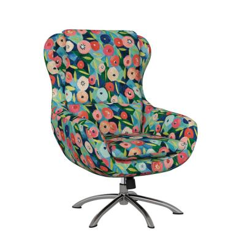 Selena Modern Swivel Rocking Chair in Vibrant Poppy Floral