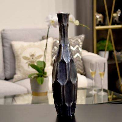 Silver Distressed Finish Ceramic Decorative Vase