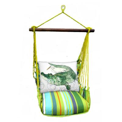 3-Piece Wood Polyester Cushioned Porch Swing with Alligator Print Back Pillow