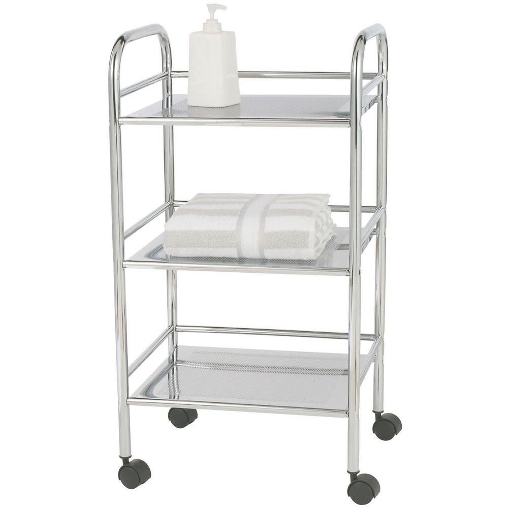 wenko exclusive 3 tier chrome 4 wheeled bath cart 12285100 the home depot. Black Bedroom Furniture Sets. Home Design Ideas