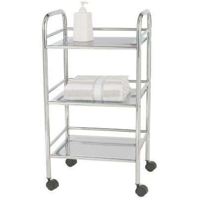Exclusive 3-tier Chrome 4-Wheeled Bath Cart