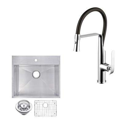 All-in-One Drop-in Top Mount Stainless Steel 25 in. Single Bowl Kitchen Sink with Faucet in Chrome Sink Kit
