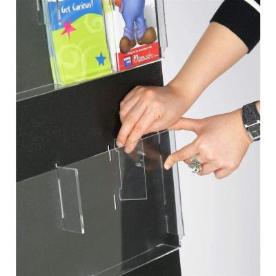 29 in. x 35 in. Black Adjustable Pockets Clear Acrylic Hanging Magazine Rack