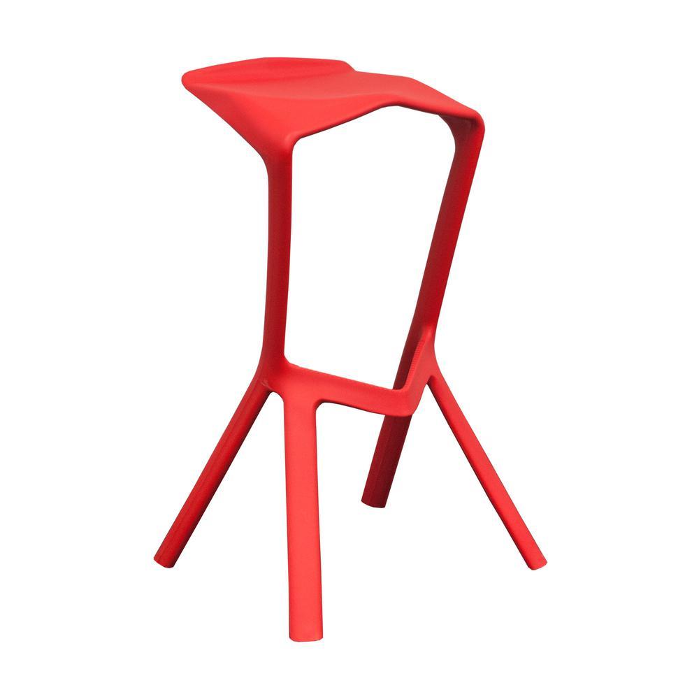 Aspect 32 in. Red Modern Plastic Barstool (Set of 2)