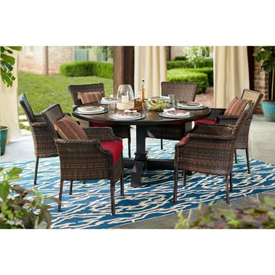 Grayson 7-Piece Brown Wicker Outdoor Patio Dining Set with CushionGuard Chili Red Cushions
