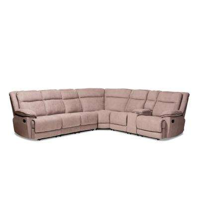Sabella 7-Piece Light Brown Fabric Sectional