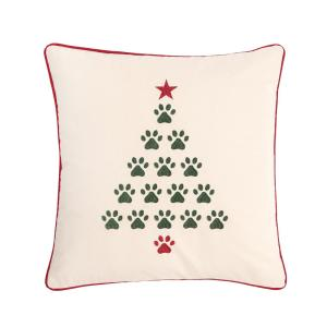 18 in. x 18 in. Christmas Tree Paws Pillow