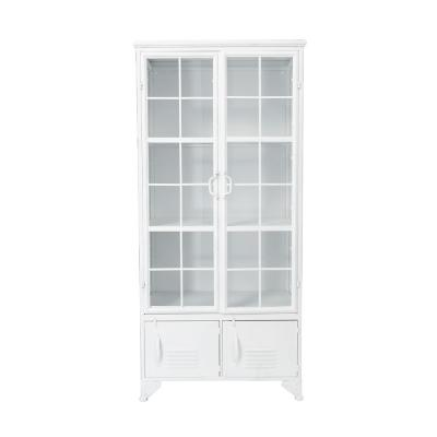 White Metal Accent Cabinet with 4-Shelves