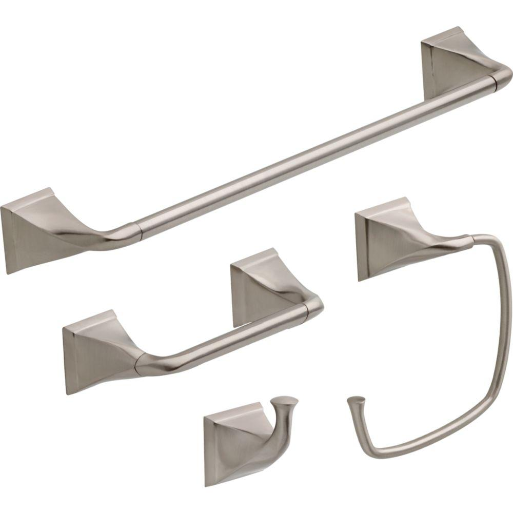 Delta Everly 4-Piece Bath Hardware Set in SpotShield Brushed Nickel