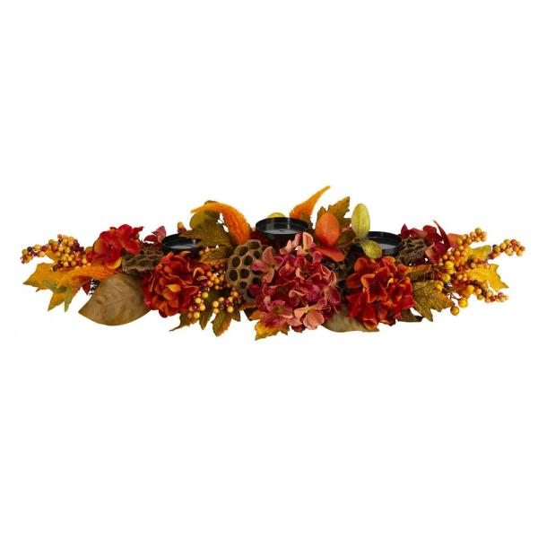 32 in. Fall Hydrangea, Lotus Seed and Berries Artificial Candelabrum Arrangement